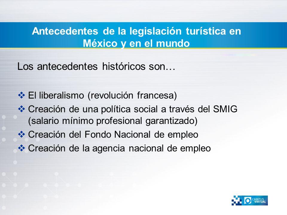 Antecedentes de la legislación turística en México y en el mundo Los antecedentes históricos son… El liberalismo (revolución francesa) Creación de una