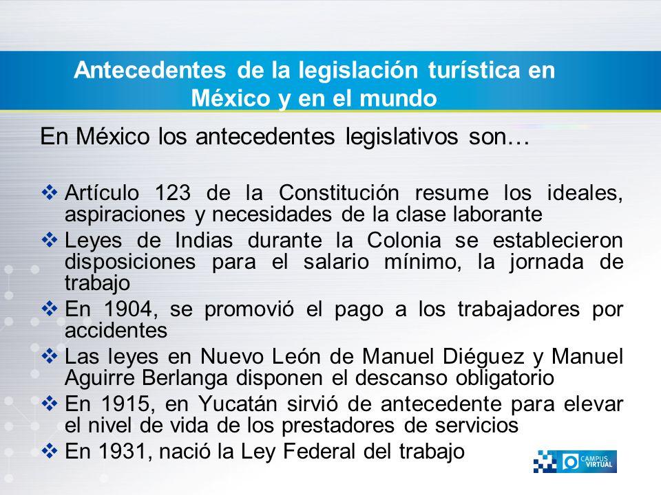Antecedentes de la legislación turística en México y en el mundo En México los antecedentes legislativos son… Artículo 123 de la Constitución resume l