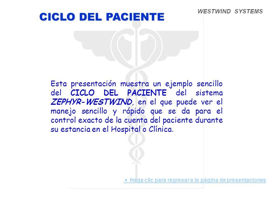 WESTWIND SYSTEMS Esta presentación muestra un ejemplo sencillo del CICLO DEL PACIENTE del sistema ZEPHYR-WESTWIND, en el que puede ver el manejo sencillo y rápido que se da para el control exacto de la cuenta del paciente durante su estancia en el Hospital o Clínica.
