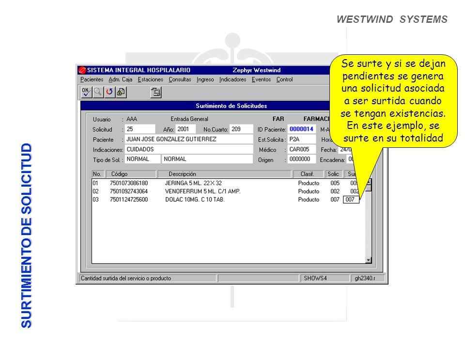 WESTWIND SYSTEMS Se surte y si se dejan pendientes se genera una solicitud asociada a ser surtida cuando se tengan existencias.