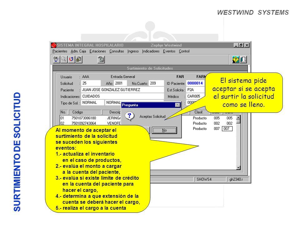WESTWIND SYSTEMS El sistema pide aceptar si se acepta el surtir la solicitud como se lleno.