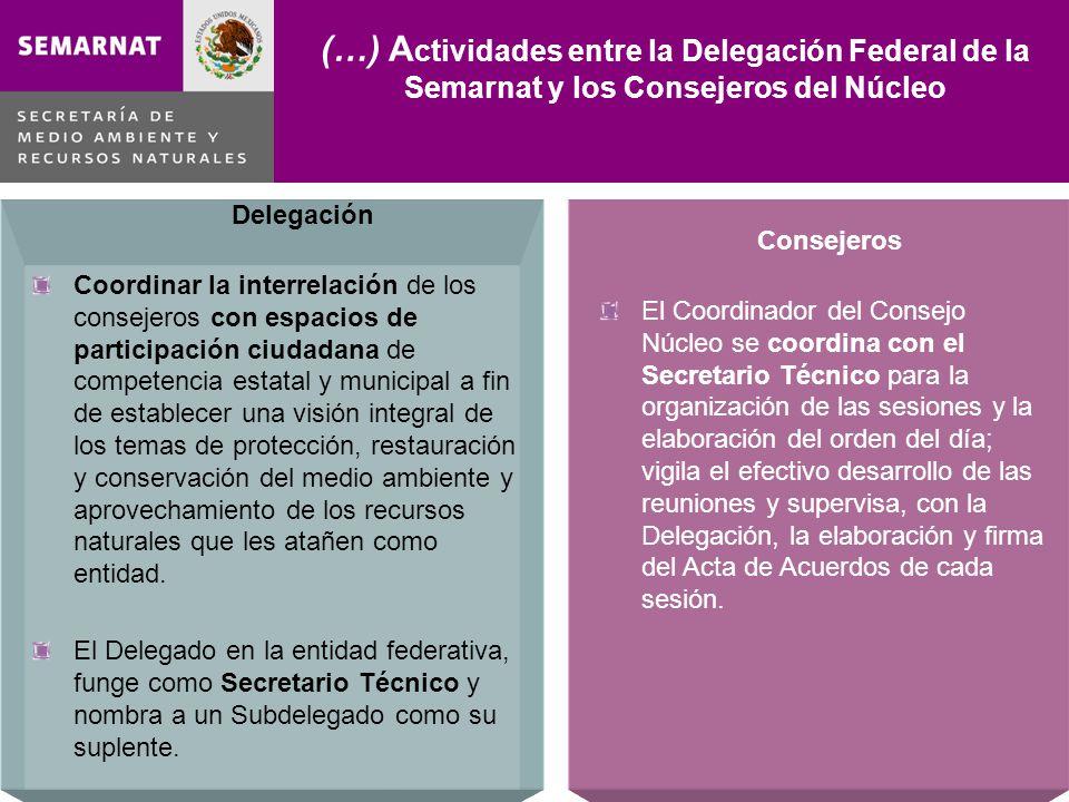 Delegación Coordinar la interrelación de los consejeros con espacios de participación ciudadana de competencia estatal y municipal a fin de establecer