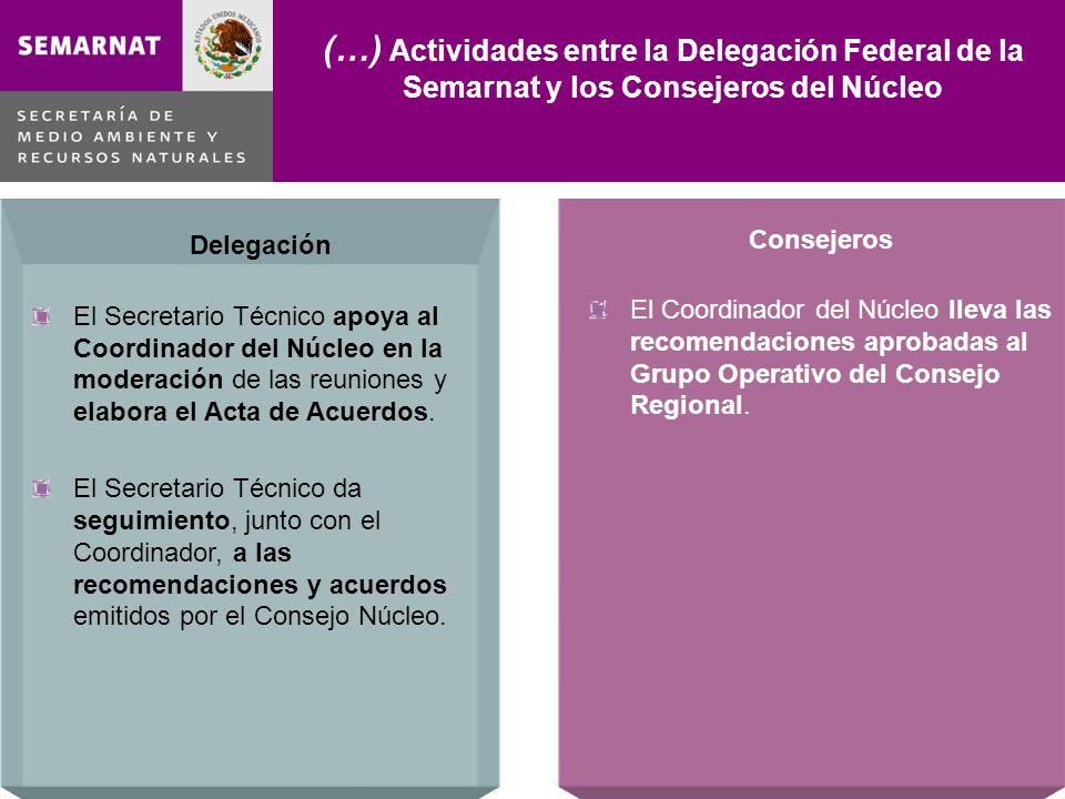 Delegación El Secretario Técnico apoya al Coordinador del Núcleo en la moderación de las reuniones y elabora el Acta de Acuerdos.