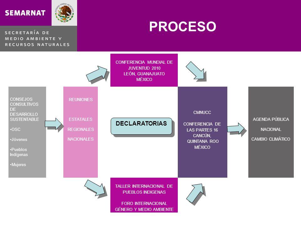 PROCESO CONFERENCIA MUNDIAL DE JUVENTUD 2010 LEÓN, GUANAJUATO MÉXICO CONSEJOS CONSULTIVOS DE DESARROLLO SUSTENTABLE OSC Jóvenes Pueblos Indígenas Mujeres REUNIONES ESTATALES REGIONALES NACIONALES CMNUCC CONFERENCIA DE LAS PARTES 16 CANCÚN, QUINTANA ROO MÉXICO AGENDA PÚBLICA NACIONAL CAMBIO CLIMÁTICO TALLER INTERNACIONAL DE PUEBLOS INDIGENAS FORO INTERNACIONAL GÉNERO Y MEDIO AMBIENTE DECLARATORIAS
