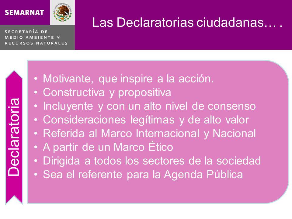Las Declaratorias ciudadanas…. Declaratoria Motivante, que inspire a la acción.