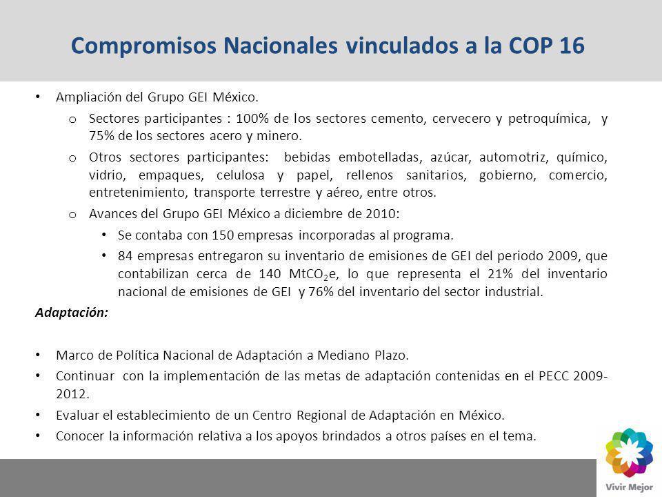 Compromisos Nacionales vinculados a la COP 16 Ampliación del Grupo GEI México. o Sectores participantes : 100% de los sectores cemento, cervecero y pe