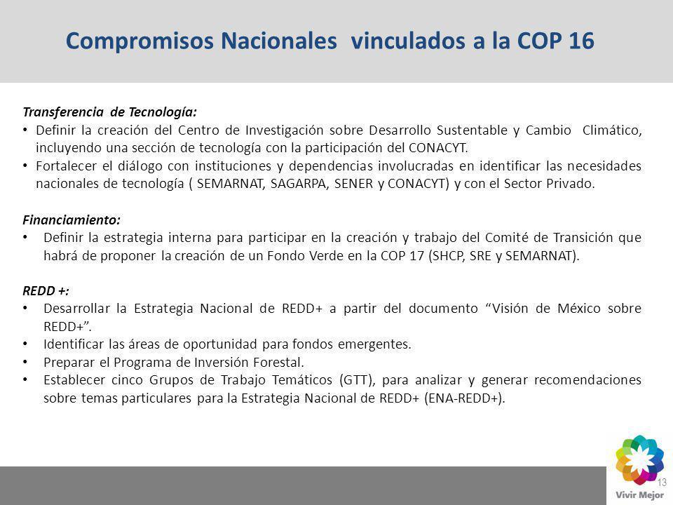 13 Compromisos Nacionales vinculados a la COP 16 Transferencia de Tecnología: Definir la creación del Centro de Investigación sobre Desarrollo Sustent