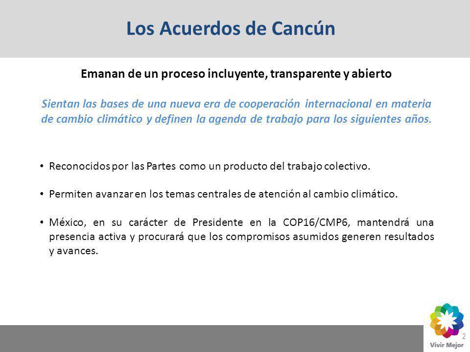 Los Acuerdos de Cancún 2 Emanan de un proceso incluyente, transparente y abierto Sientan las bases de una nueva era de cooperación internacional en ma