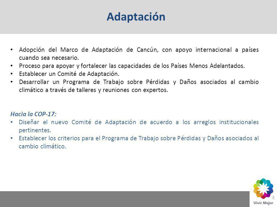 6 Adaptación Adopción del Marco de Adaptación de Cancún, con apoyo internacional a países cuando sea necesario. Proceso para apoyar y fortalecer las c