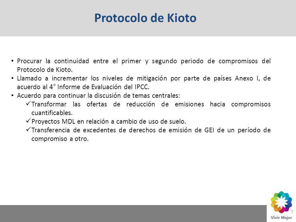 7 Procurar la continuidad entre el primer y segundo periodo de compromisos del Protocolo de Kioto. Llamado a incrementar los niveles de mitigación por