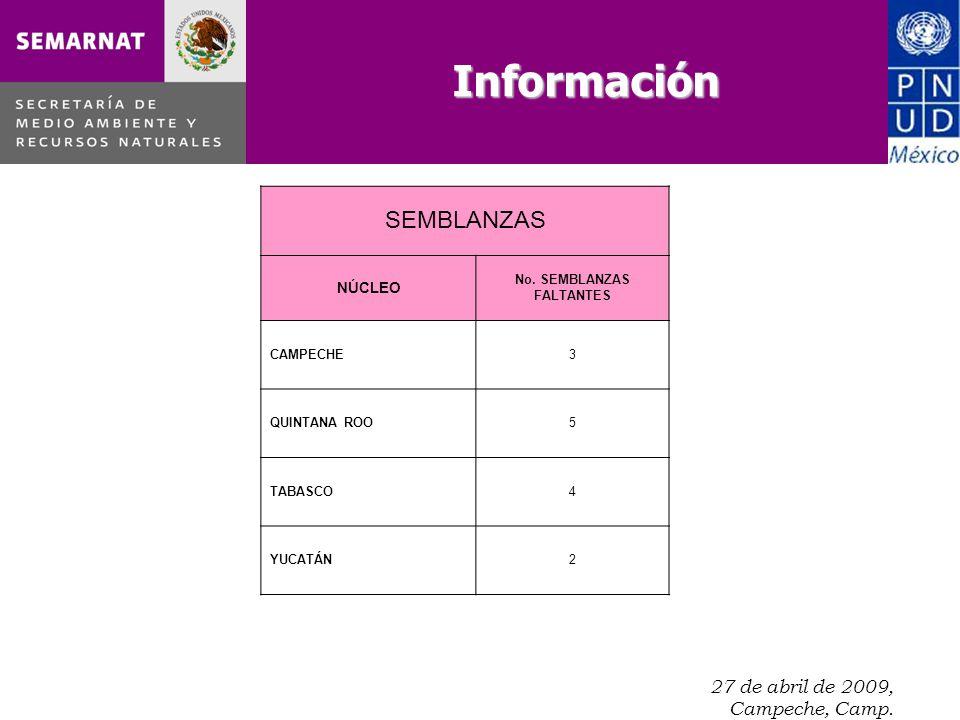 27 de abril de 2009, Campeche, Camp. SEMBLANZAS NÚCLEO No.