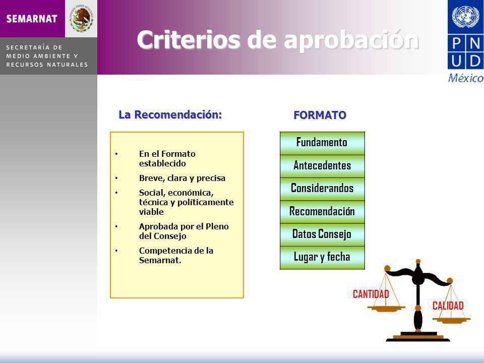 Fundamento Antecedentes Considerandos Recomendación Datos Consejo Lugar y fecha FORMATO CALIDAD CANTIDAD En el Formato establecido Breve, clara y prec