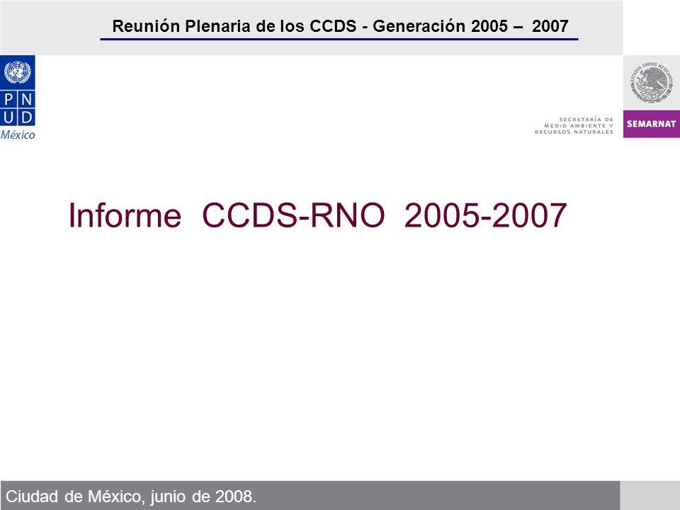 Reunión Plenaria de los CCDS - Generación 2005 – 2007 Ciudad de México, junio de 2008. Informe CCDS-RNO 2005-2007