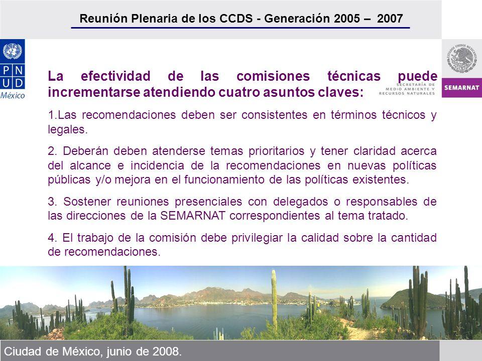Reunión Plenaria de los CCDS - Generación 2005 – 2007 Ciudad de México, junio de 2008. La efectividad de las comisiones técnicas puede incrementarse a
