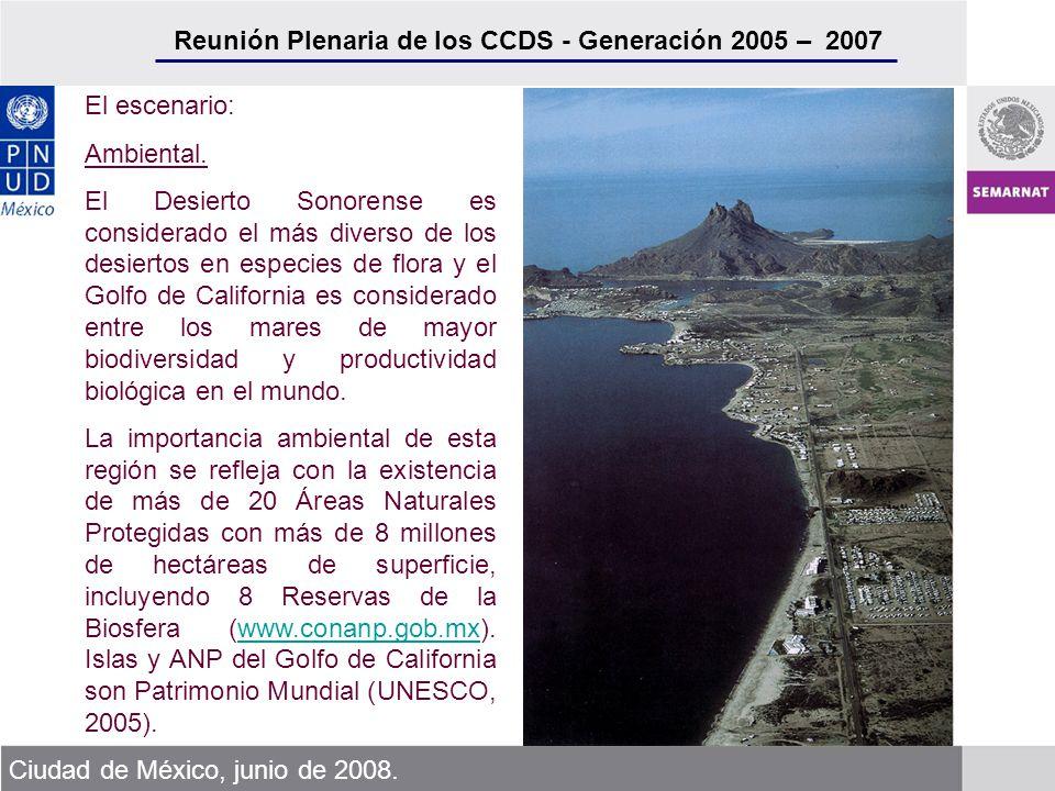 Reunión Plenaria de los CCDS - Generación 2005 – 2007 Ciudad de México, junio de 2008. El escenario: Ambiental. El Desierto Sonorense es considerado e