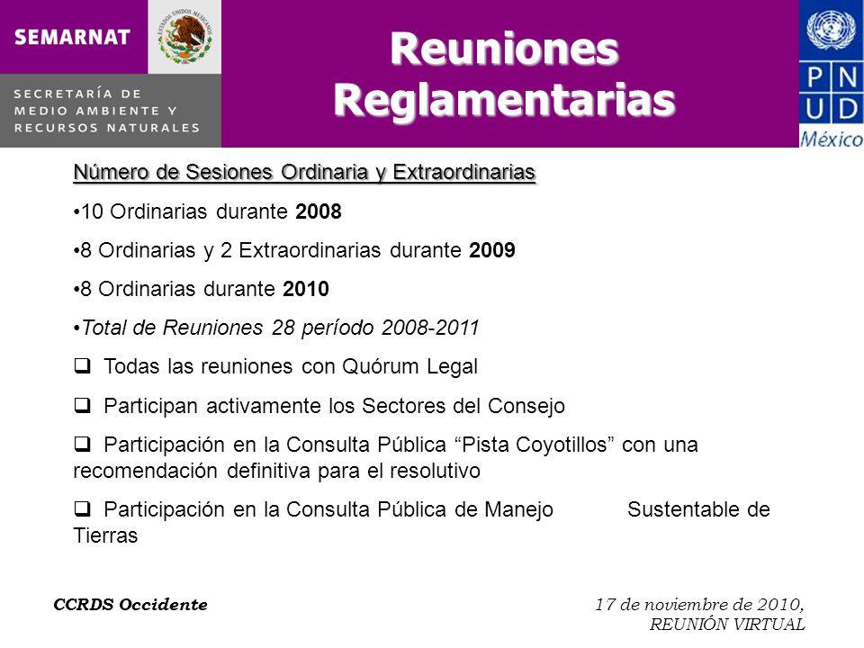 CCRDS Occidente 17 de noviembre de 2010, REUNIÓN VIRTUAL Trabajo en el Núcleo SI El Núcleo Aguascalientes SI cuenta con Diagnóstico.