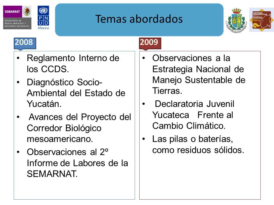 Reglamento Interno de los CCDS.Diagnóstico Socio- Ambiental del Estado de Yucatán.