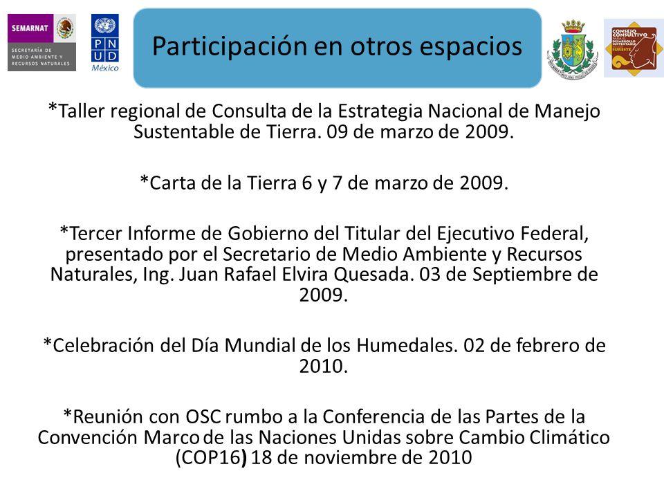 * Taller regional de Consulta de la Estrategia Nacional de Manejo Sustentable de Tierra.