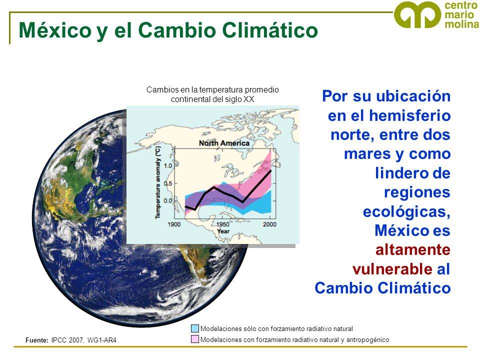 Por su ubicación en el hemisferio norte, entre dos mares y como lindero de regiones ecológicas, México es altamente vulnerable al Cambio Climático Fue