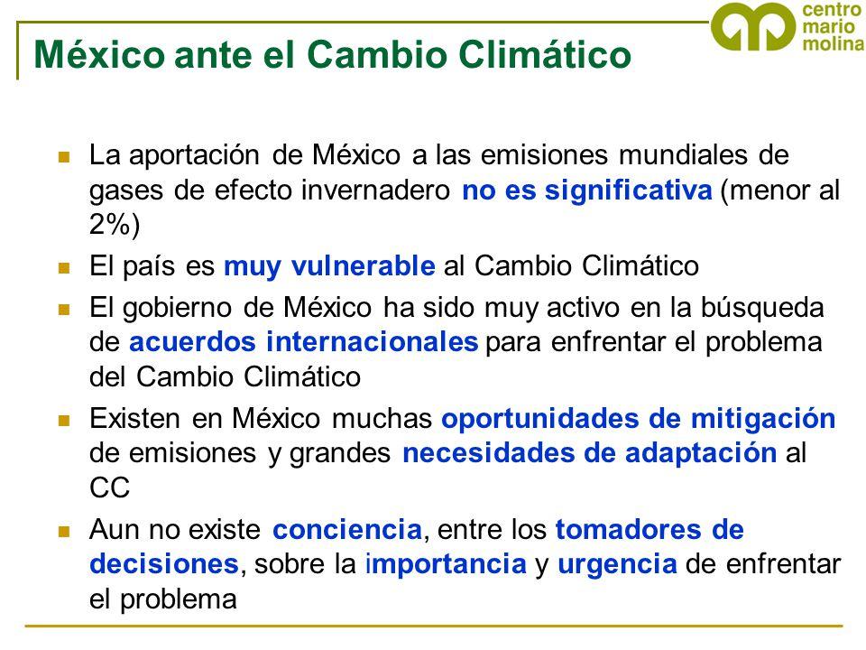 México ante el Cambio Climático La aportación de México a las emisiones mundiales de gases de efecto invernadero no es significativa (menor al 2%) El