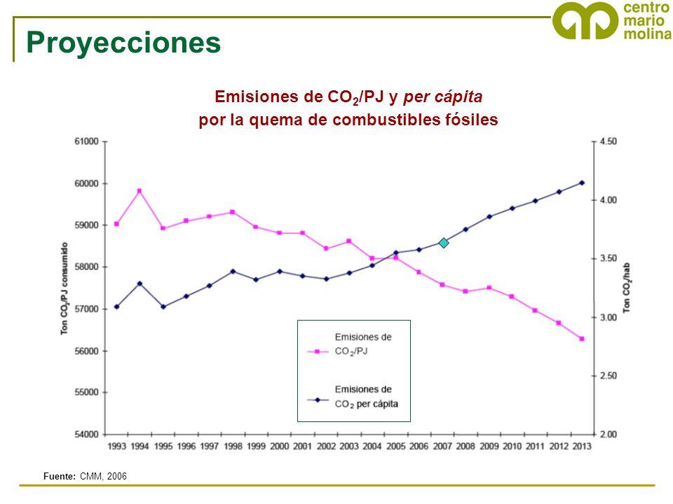 Emisiones de CO 2 /PJ y per cápita por la quema de combustibles fósiles Fuente: CMM, 2006 Proyecciones
