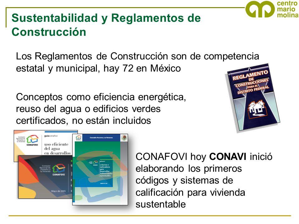 Los Reglamentos de Construcción son de competencia estatal y municipal, hay 72 en México Conceptos como eficiencia energética, reuso del agua o edific