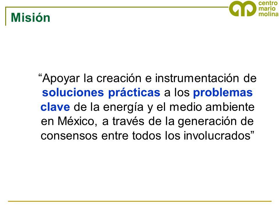 Apoyar la creación e instrumentación de soluciones prácticas a los problemas clave de la energía y el medio ambiente en México, a través de la generac