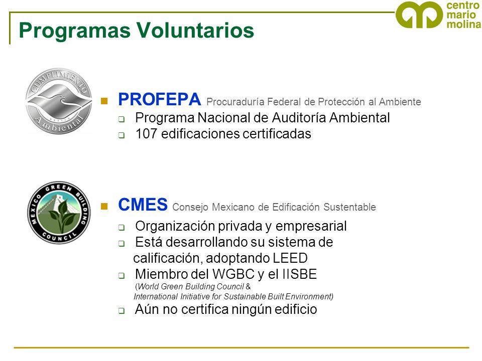 Programas Voluntarios PROFEPA Procuraduría Federal de Protección al Ambiente Programa Nacional de Auditoría Ambiental 107 edificaciones certificadas C
