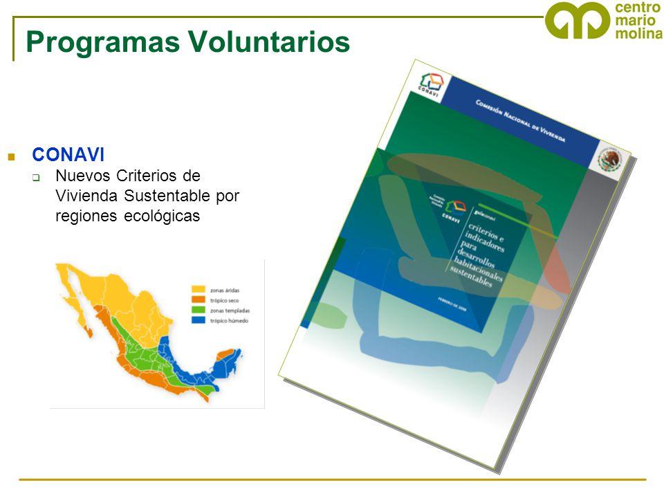 Programas Voluntarios CONAVI Nuevos Criterios de Vivienda Sustentable por regiones ecológicas