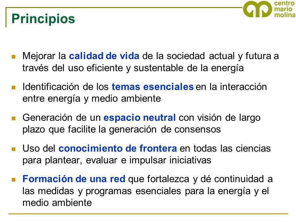 Principios Mejorar la calidad de vida de la sociedad actual y futura a través del uso eficiente y sustentable de la energía Identificación de los tema
