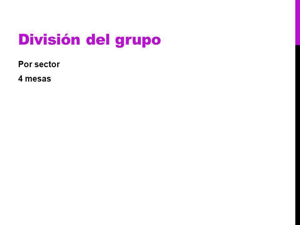 División del grupo Por sector 4 mesas