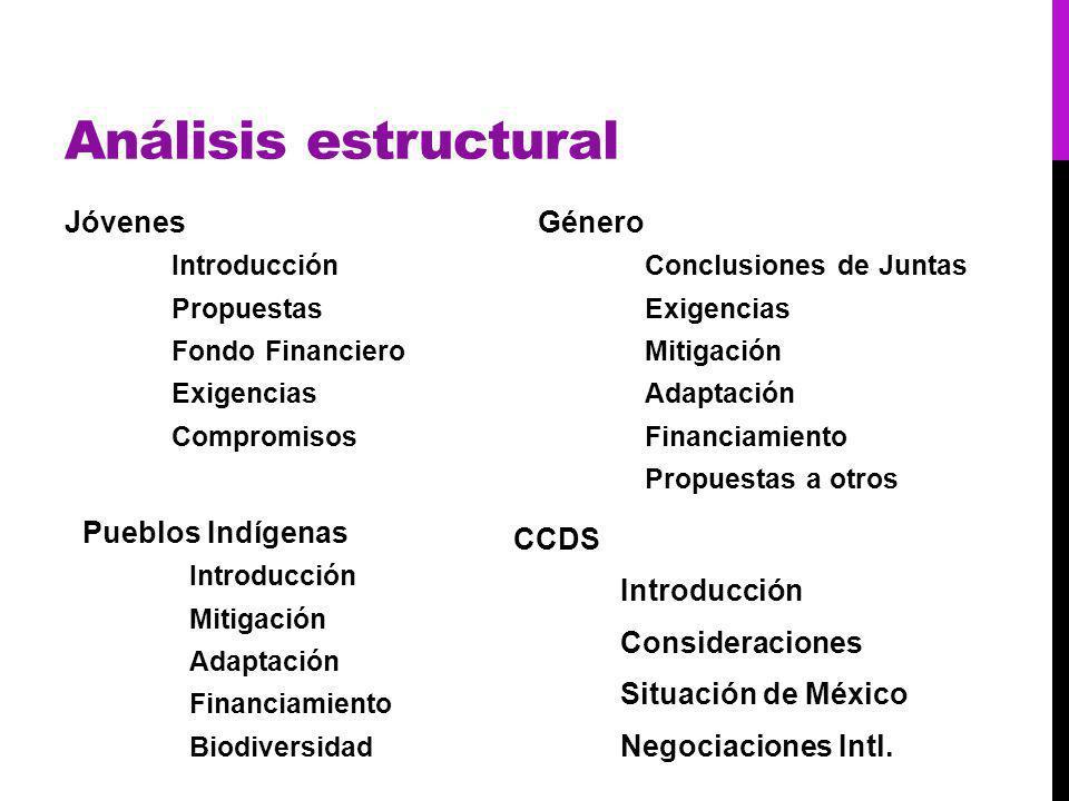 Análisis estructural Jóvenes Introducción Propuestas Fondo Financiero Exigencias Compromisos Género Conclusiones de Juntas Exigencias Mitigación Adaptación Financiamiento Propuestas a otros Pueblos Indígenas Introducción Mitigación Adaptación Financiamiento Biodiversidad CCDS Introducción Consideraciones Situación de México Negociaciones Intl.