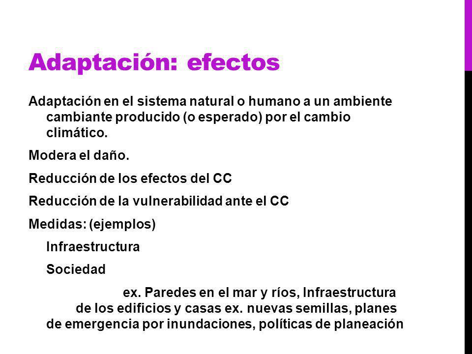 Adaptación: efectos Adaptación en el sistema natural o humano a un ambiente cambiante producido (o esperado) por el cambio climático.