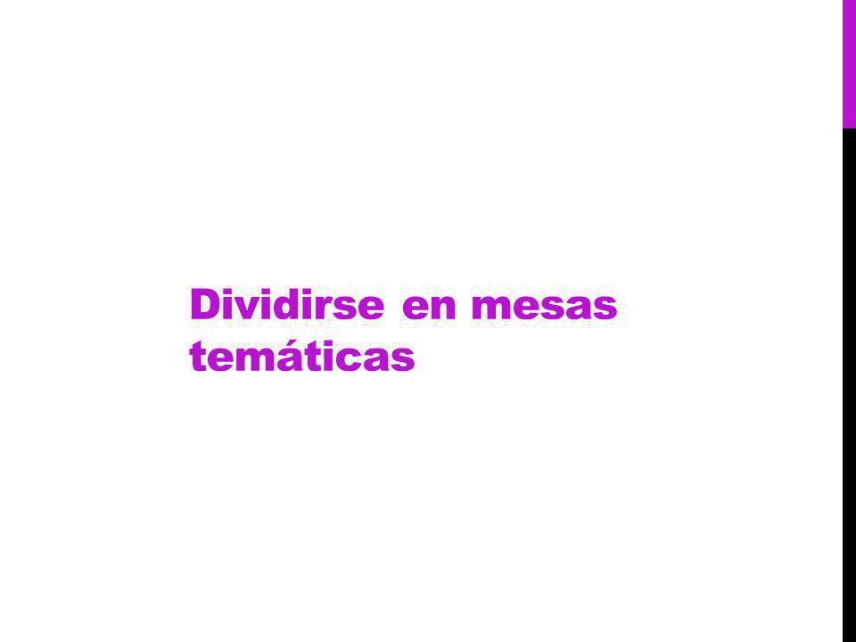 Dividirse en mesas temáticas