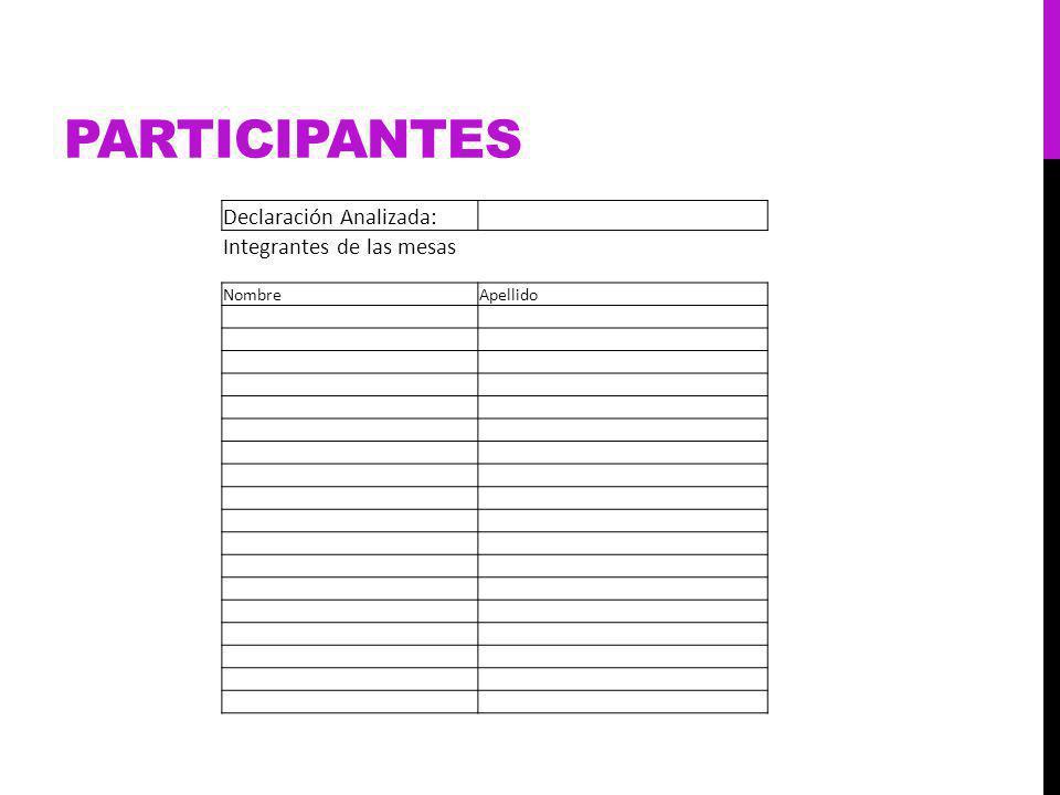 PARTICIPANTES Declaración Analizada: Integrantes de las mesas NombreApellido