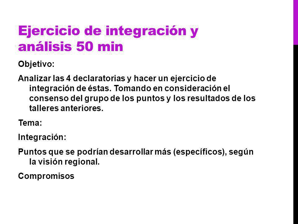 Ejercicio de integración y análisis 50 min Objetivo: Analizar las 4 declaratorias y hacer un ejercicio de integración de éstas.