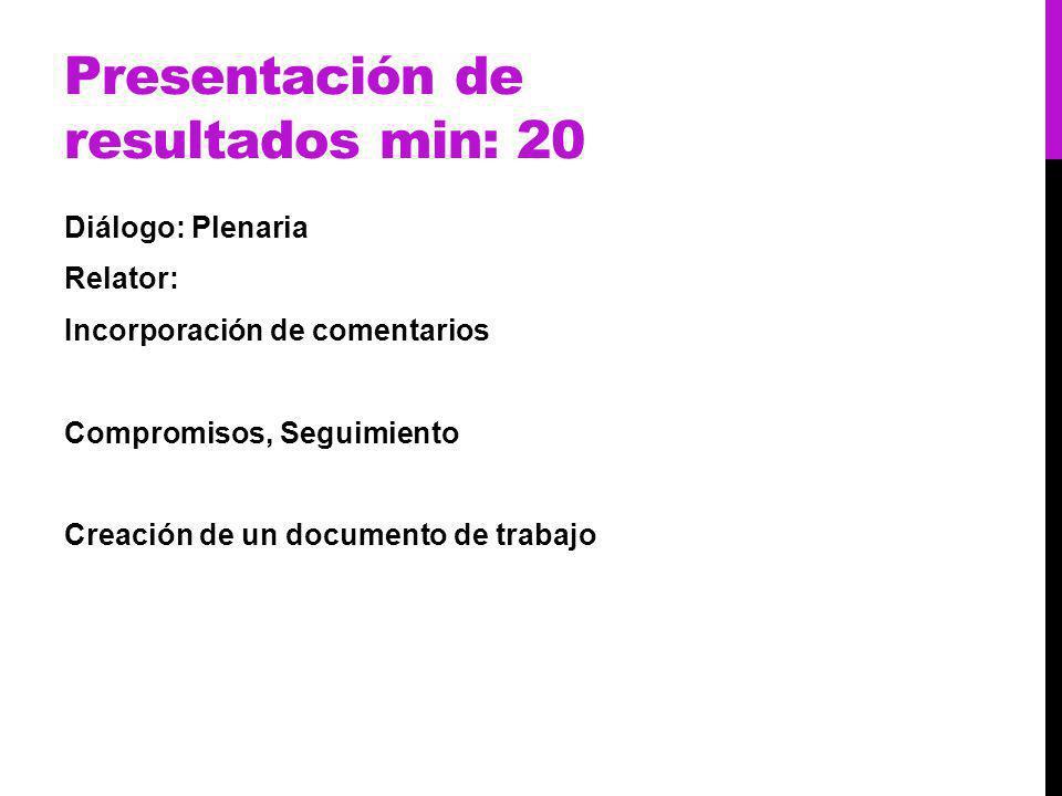 Presentación de resultados min: 20 Diálogo: Plenaria Relator: Incorporación de comentarios Compromisos, Seguimiento Creación de un documento de trabajo