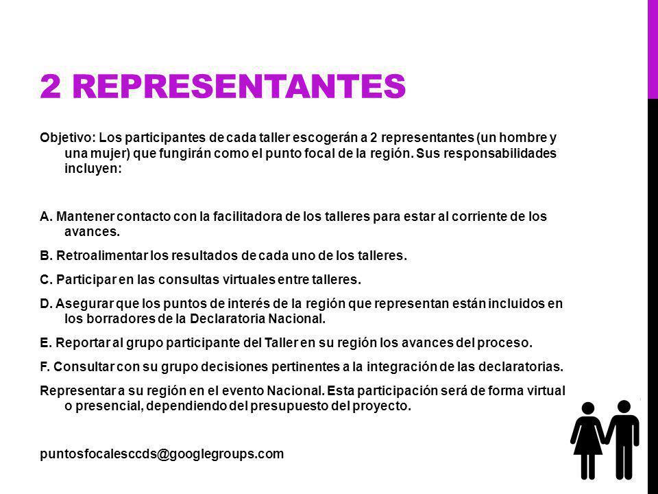 2 REPRESENTANTES Objetivo: Los participantes de cada taller escogerán a 2 representantes (un hombre y una mujer) que fungirán como el punto focal de la región.