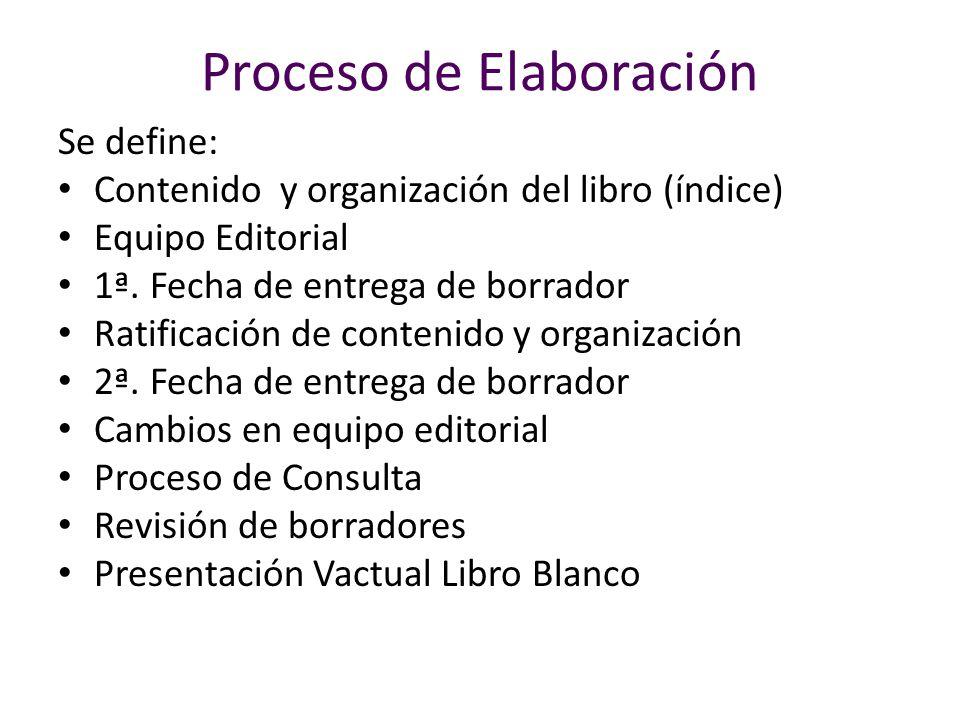Proceso de Elaboración Se define: Contenido y organización del libro (índice) Equipo Editorial 1ª. Fecha de entrega de borrador Ratificación de conten