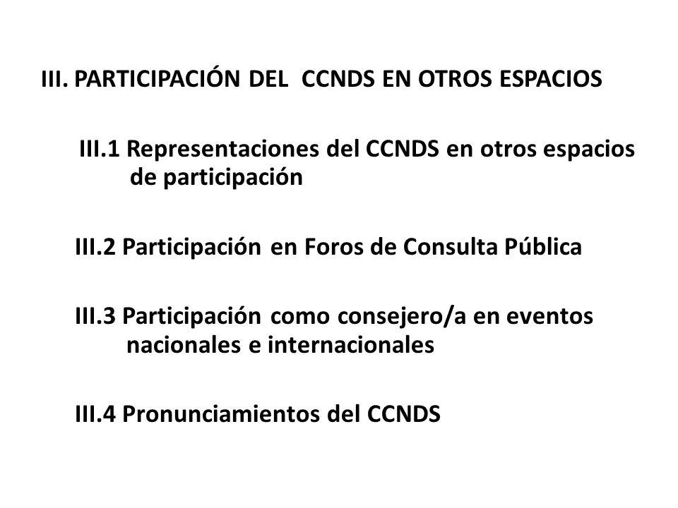 III. PARTICIPACIÓN DEL CCNDS EN OTROS ESPACIOS III.1 Representaciones del CCNDS en otros espacios de participación III.2 Participación en Foros de Con