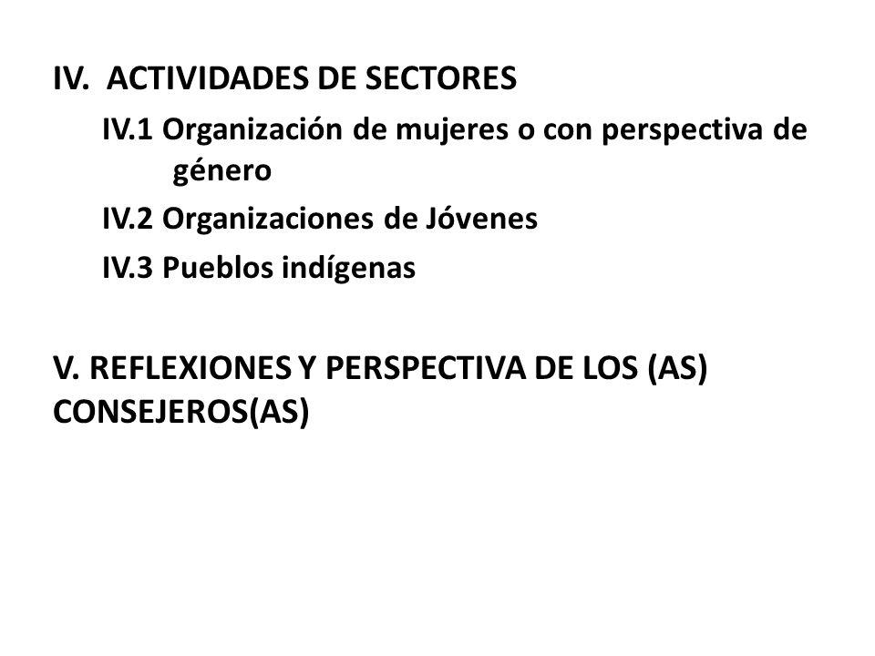 IV. ACTIVIDADES DE SECTORES IV.1 Organización de mujeres o con perspectiva de género IV.2 Organizaciones de Jóvenes IV.3 Pueblos indígenas V. REFLEXIO