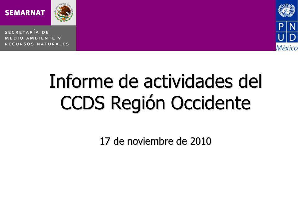 Informe de actividades del CCDS Región Occidente 17 de noviembre de 2010