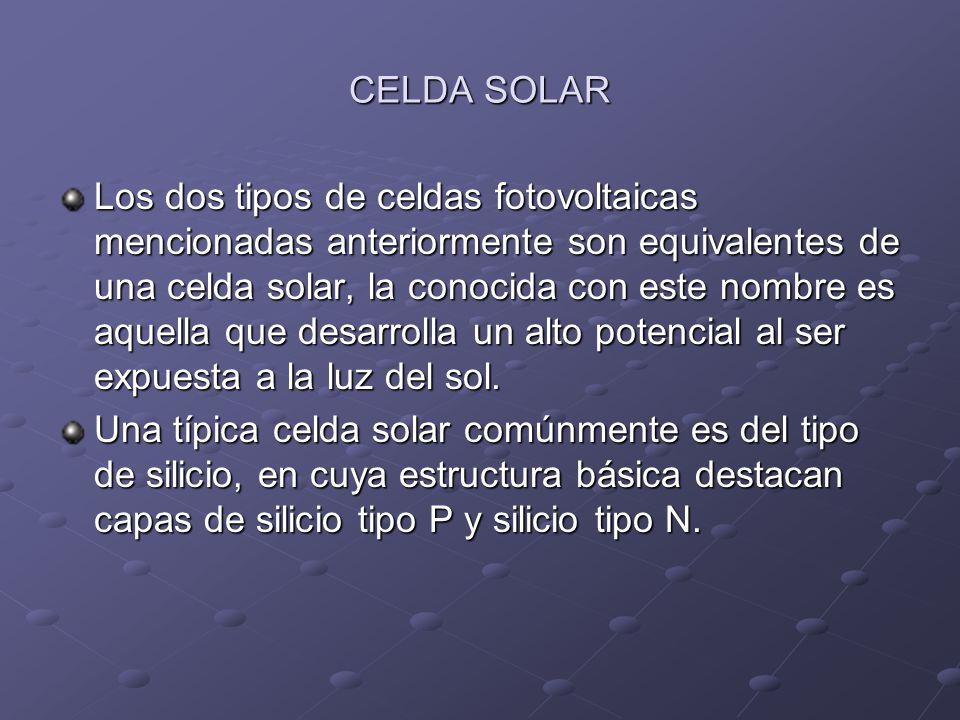 Valores aproximados de cada tipo de celda CELDA FOTOVOLTAICA DE SELENIO: 0.4 V a 500 uA CELDA FOTOVOLTAICA DE SILICIO: 1 V a 20 mA CELDA SOLAR DE SILICIO: 6 V a 250 mA