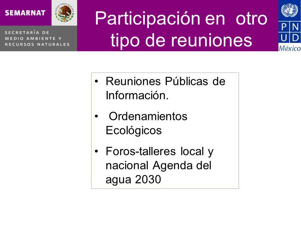 Participación en otro tipo de reuniones CCRDS Occidente 17 de noviembre de 2010 Reunión Virtual Reuniones Públicas de Información.