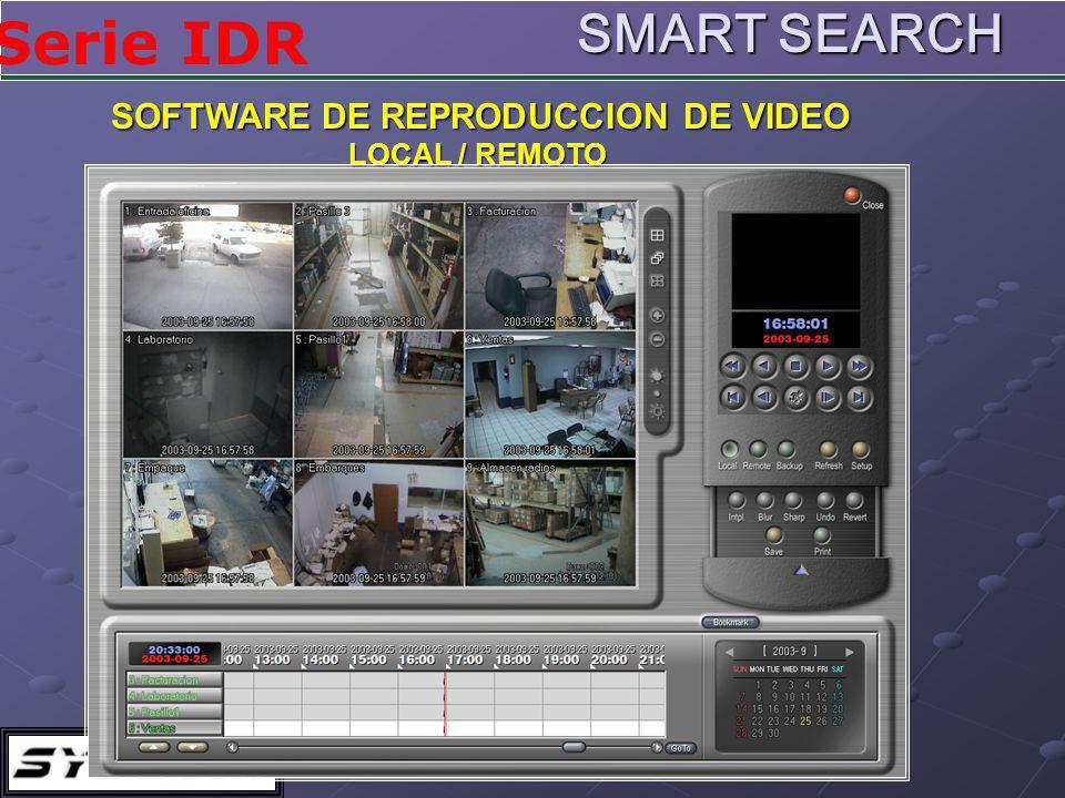 Serie IDR SOFTWARE DE REPRODUCCION DE VIDEO LOCAL / REMOTO SMART SEARCH