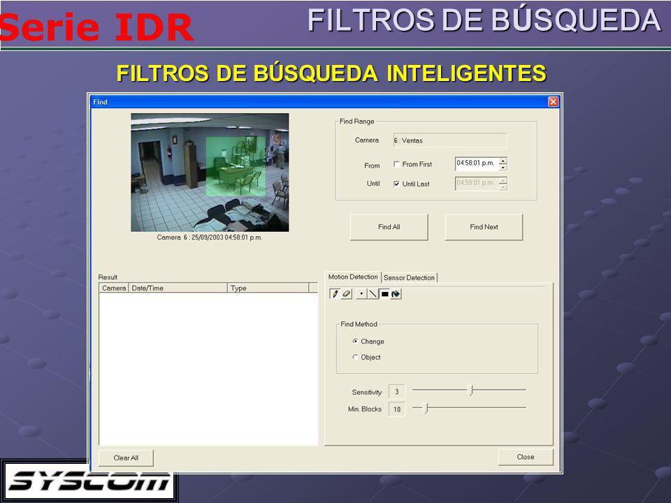 Serie IDR FILTROS DE BÚSQUEDA INTELIGENTES FILTROS DE BÚSQUEDA
