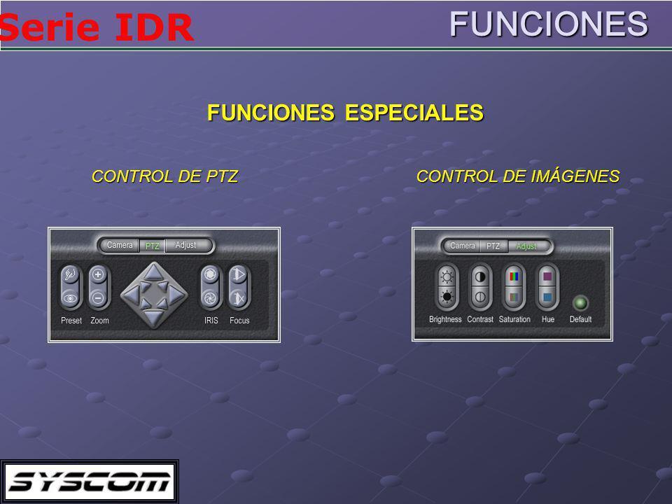 Serie IDR CONTROL DE PTZ CONTROL DE IMÁGENES FUNCIONES ESPECIALES FUNCIONES