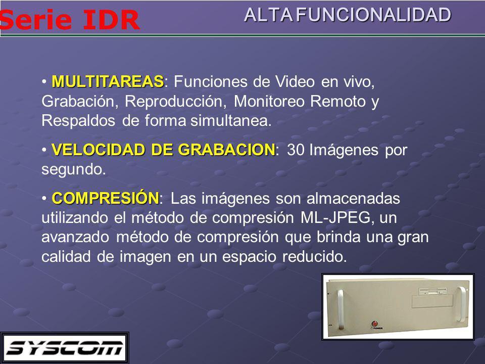 Serie IDR ALTA FUNCIONALIDAD MULTITAREAS MULTITAREAS: Funciones de Video en vivo, Grabación, Reproducción, Monitoreo Remoto y Respaldos de forma simultanea.
