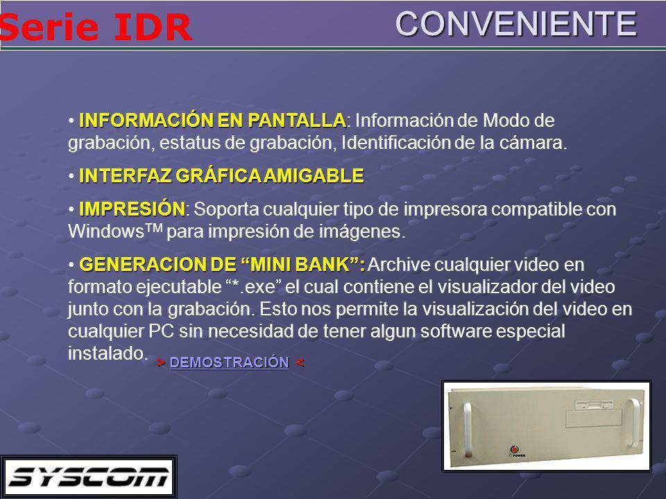Serie IDRCONVENIENTE INFORMACIÓN EN PANTALLA INFORMACIÓN EN PANTALLA: Información de Modo de grabación, estatus de grabación, Identificación de la cámara.