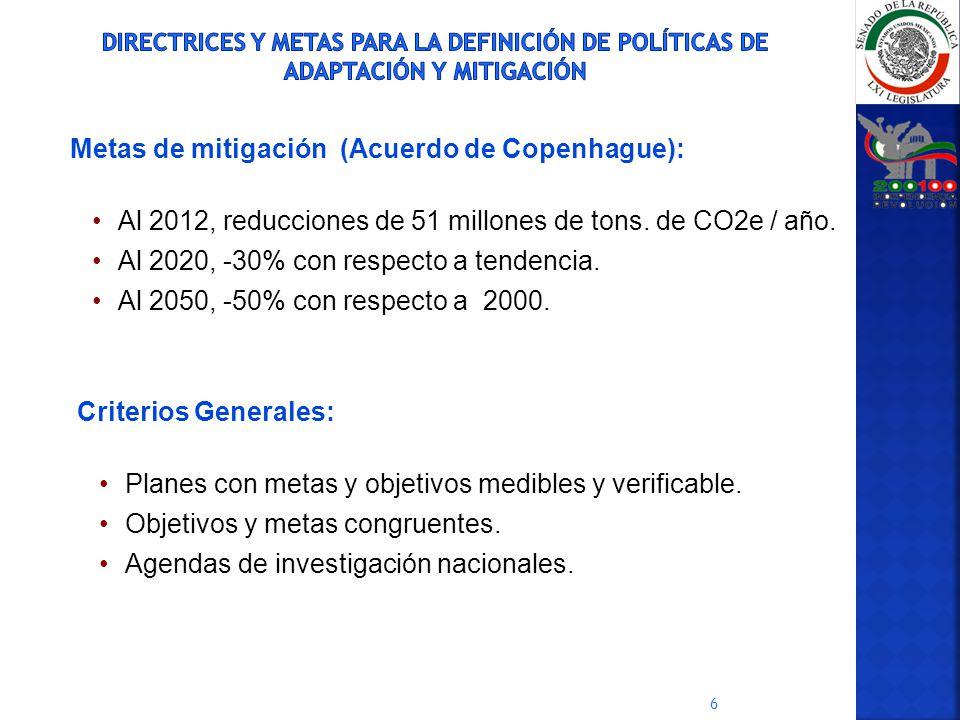 6 Metas de mitigación (Acuerdo de Copenhague): Al 2012, reducciones de 51 millones de tons. de CO2e / año. Al 2020, -30% con respecto a tendencia. Al